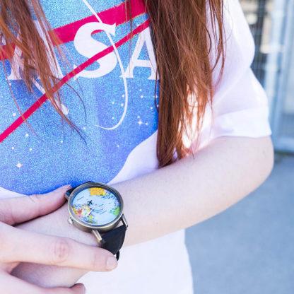 Zegarek z mapą świata black
