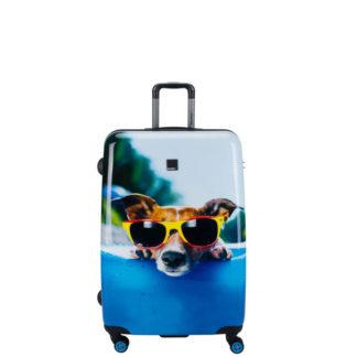Walizka duża Saxoline Blue Happy Dog L