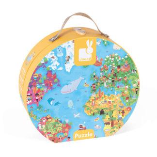 Puzzle w walizce Janod Mapa Świata 300 elementów